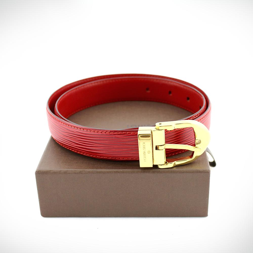 Ceinture Louis Vuitton Authentique d'occasion en cuir épi couleur rouge et bijouterie dorée