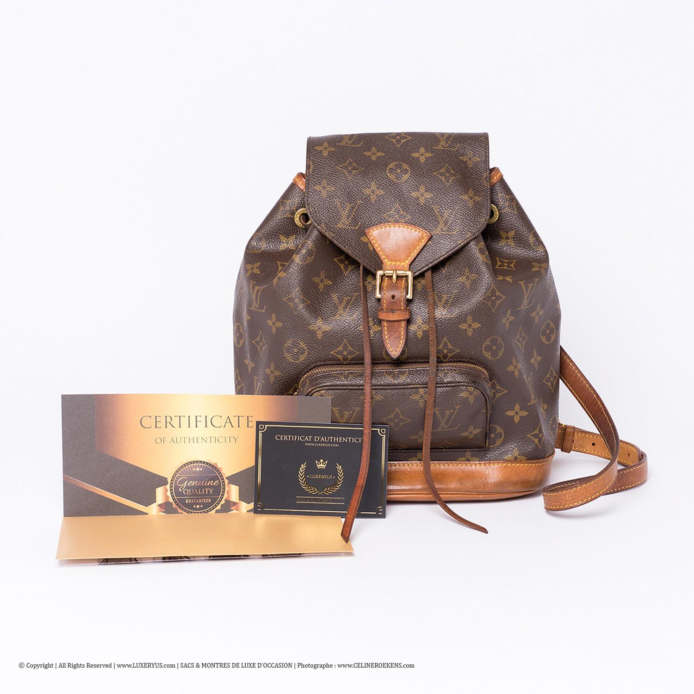 Incontournable Sac à dos Louis Vuitton Montsouris Authentique d'occasion en toile Monogram brun
