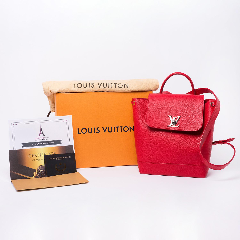 Sac à dos Louis Vuitton Lockme Authentique d'occasion en cuir couleur rubis