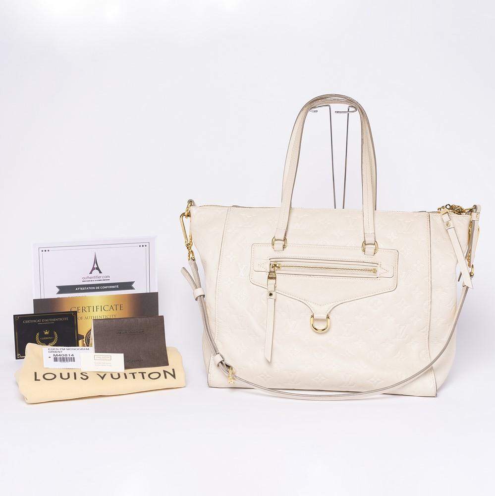 Sac à main Louis Vuitton Lumineuse PM Authentique d'occasion Monogram empreint couleur neige