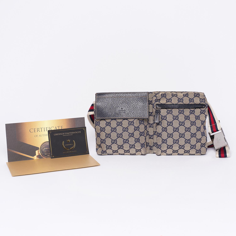 Sac de ceinture / Belt bag Gucci Authentique d'occasion en toile monogram beige GG bleu