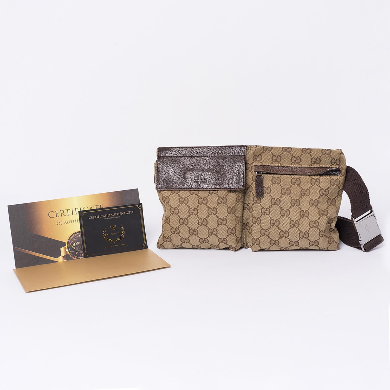 Sac de ceinture / Belt bag Gucci Authentique d'occasion en toile monogram beige GG brun