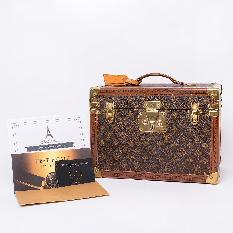 Vanity (Boîte à flacons) Louis Vuitton Vintage Authentique grand modèle en toile monogram brun