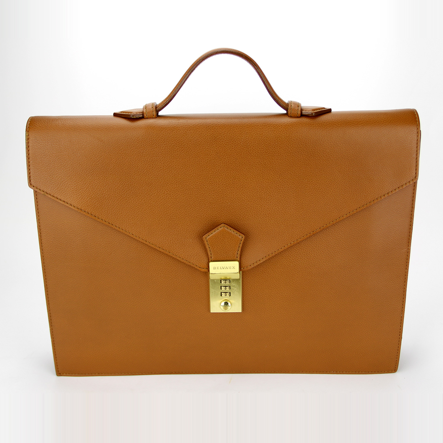 Porte-documents Serviette Delvaux Authentique d'occasion en cuir grainé couleur camel