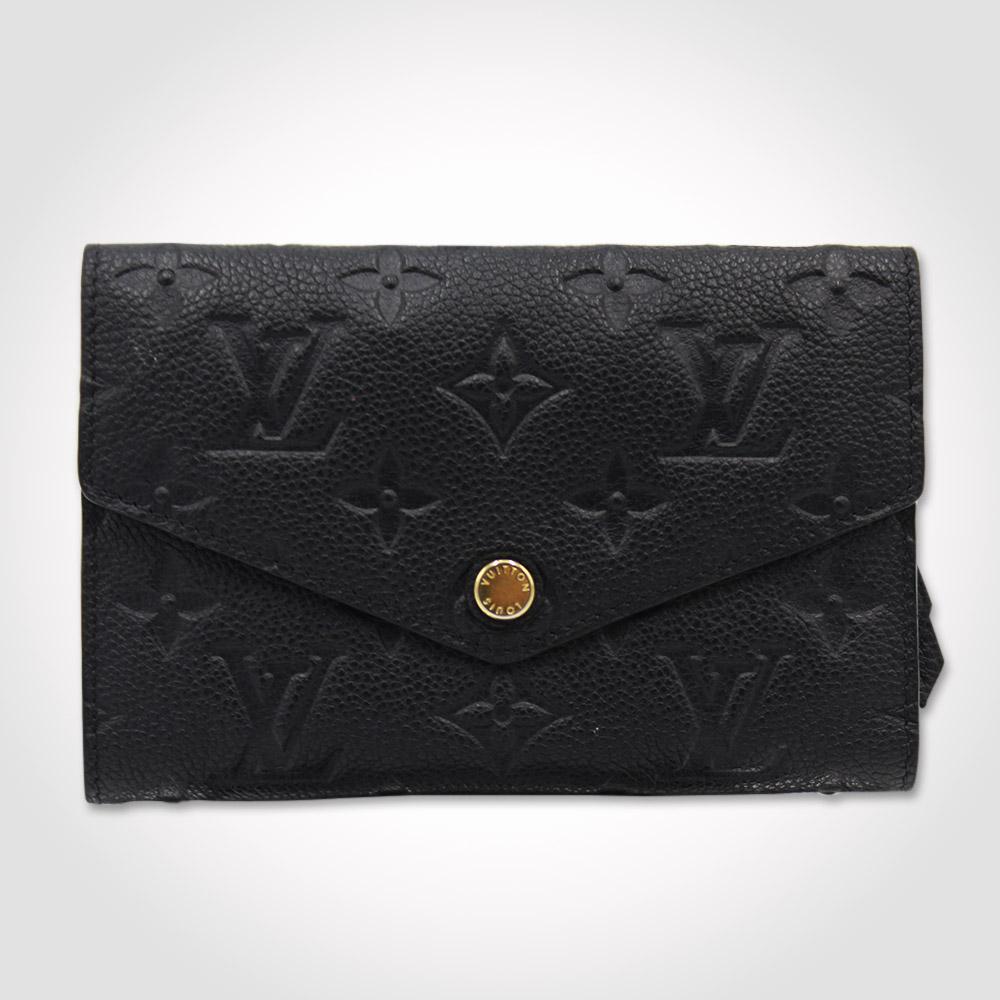 Portefeuille Louis Vuitton Curieuse Compact Authentique d'occasion en Cuir Monogram Empreinte couleur noir