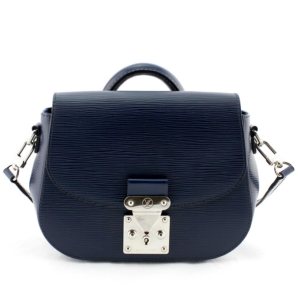 Sac Louis Vuitton Eden Authentique d'occasion en cuir épi couleur bleu indigo