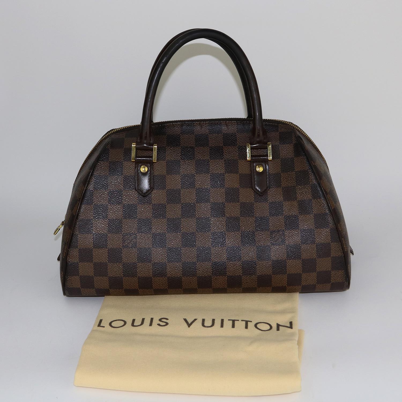 Sac à main Louis Vuitton Ribera MM Authentique d'occasion en toile Damier Ébène
