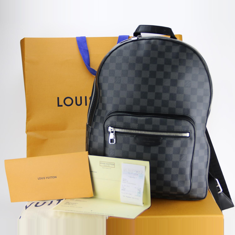 Sac à dos Louis Vuitton Josh Authentique d'occasion en toile Damier graphite