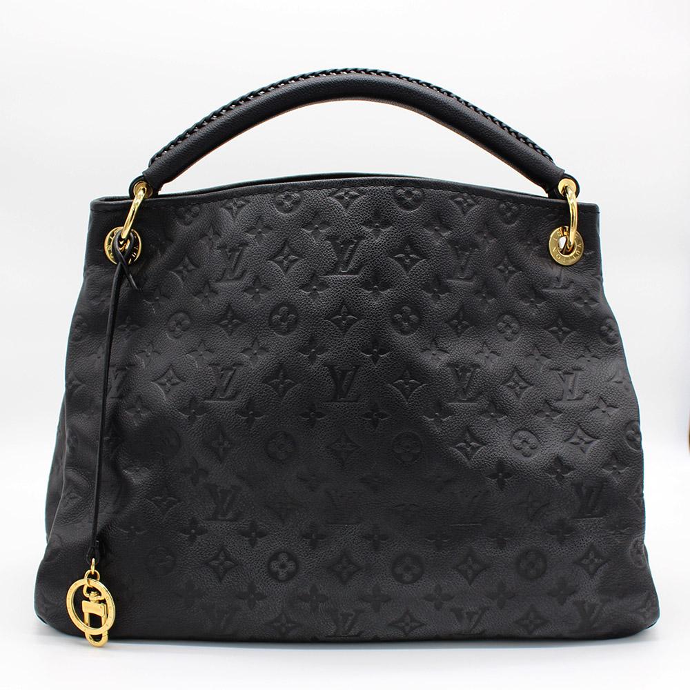 Sac à main Louis Vuitton Artsy MM Authentique d'occasion cuir noir Monogram Empreinte embossé