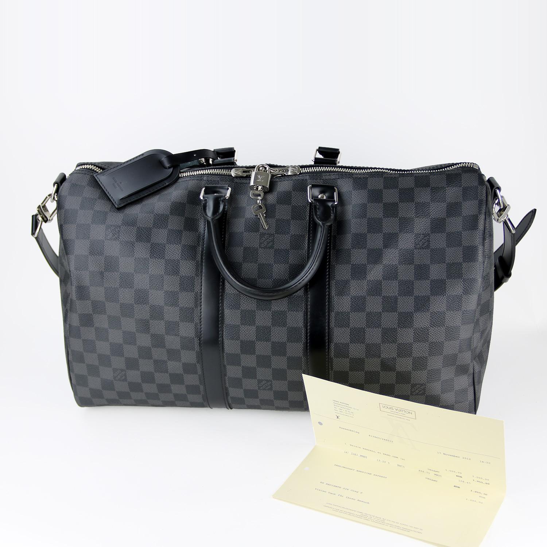 Sac de voyage Louis Vuitton Keepall Bandoulière 45 Authentique d'occasion en Toile Damier Graphite