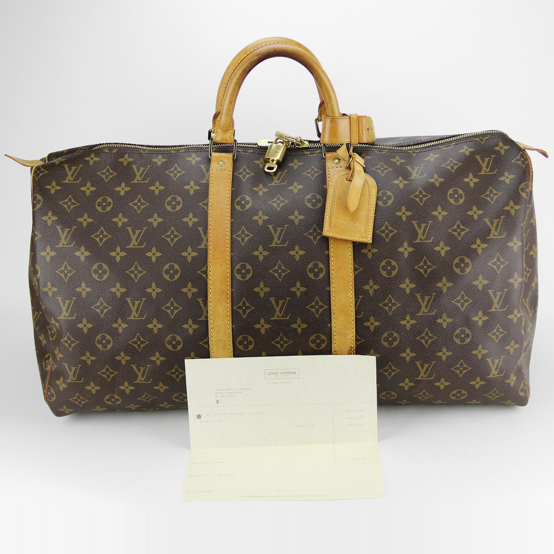 Sac de voyage Louis Vuitton Keepall 55 Authentique d'occasion en Toile Monogram brun