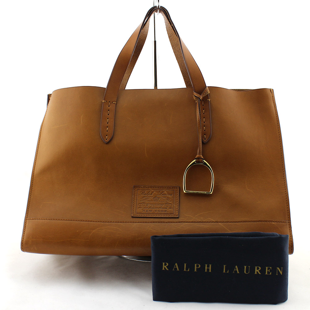 Sac à main Ralph Lauren XL Authentique d'occasion en cuir naturel rigide couleur brun