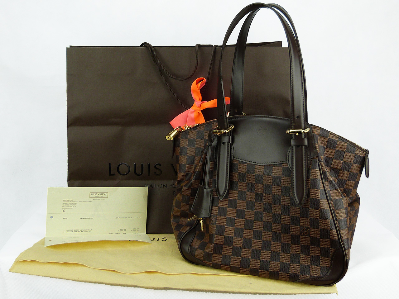 Sac à main Louis Vuitton Verona MM Authentique d'occasion en toile enduite damier ébène