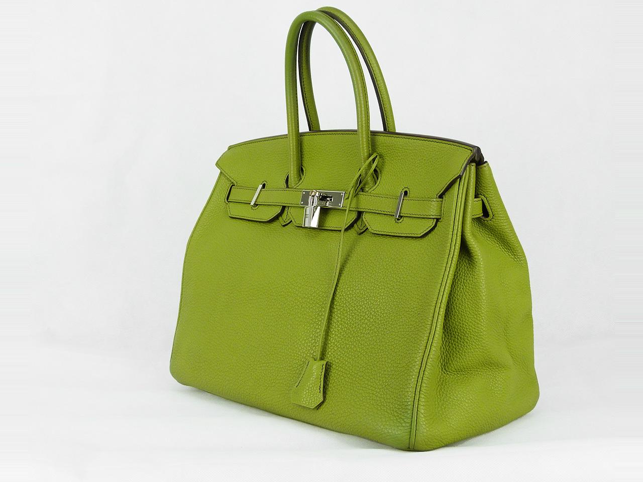 Sac à main Hermès Birkin 35 Authentique d'occasion en cuir togo couleur estivale vert