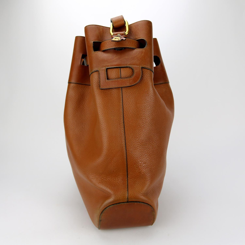 Sac à bandoulière Delvaux Authentique d'occasion en cuir grainé couleur camel brun