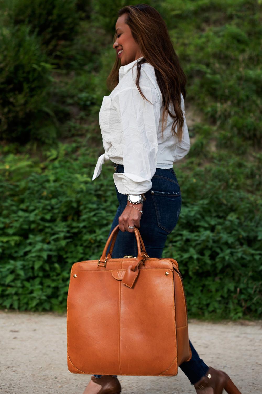 Mallette XL Louis Vuitton Authentique d'occasion en cuir naturel