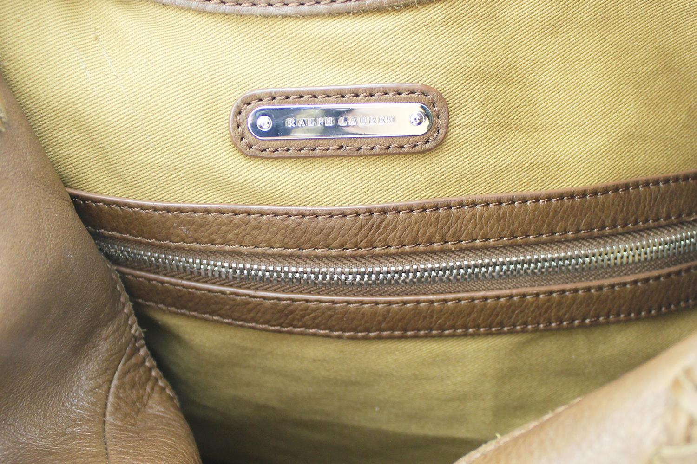 Sac à main Ralph Lauren Shopping Authentique d'occasion en cuir vieilli couleur brun