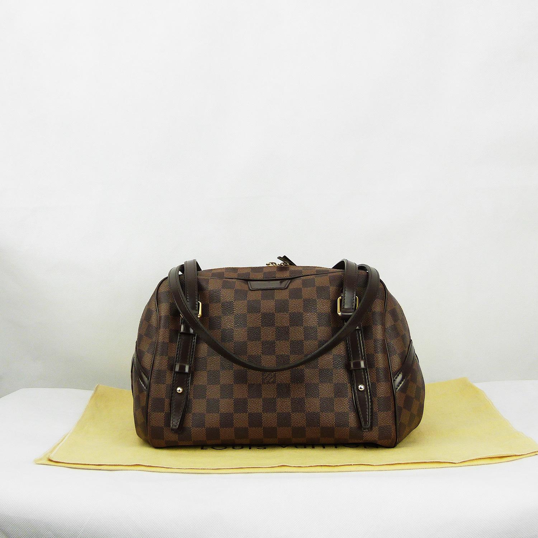 Sac à main Louis Vuitton Rivington GM Authentique d'occasion en toile Damier Ébène