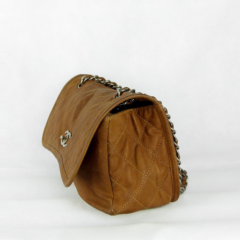 Sac à main Chanel Timeless Jumbo Authentique d'occasion en cuir souple couleur camel