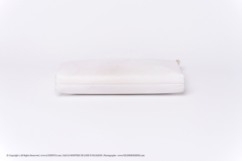 Porte-documents / Portfolio Vintage Chanel Authentique d'occasion en cuir grainé blanc