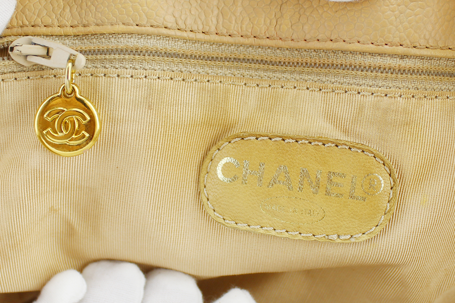 Sac à main Chanel Grand Shopping Authentique d'occasion en cuir grainé couleur beige