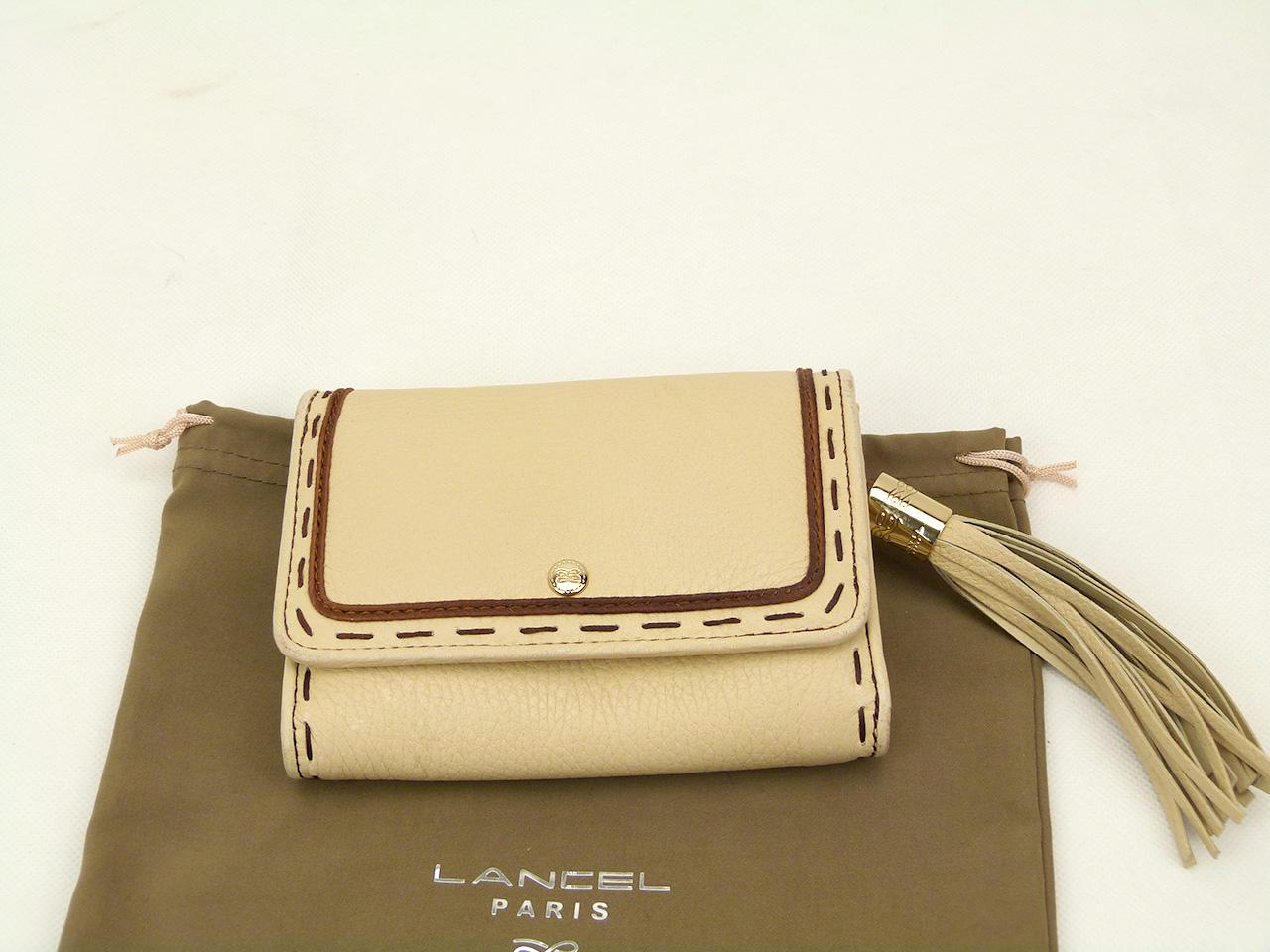 Sac à main et Portefeuille Lancel Premier Flirt Authentique d'occasion en cuir grainé couleur ivoire