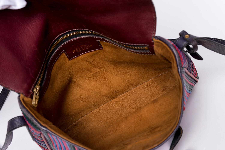 Petit Sac à bandoulière Delvaux Authentique d'occasion en cuir tressé multicolore