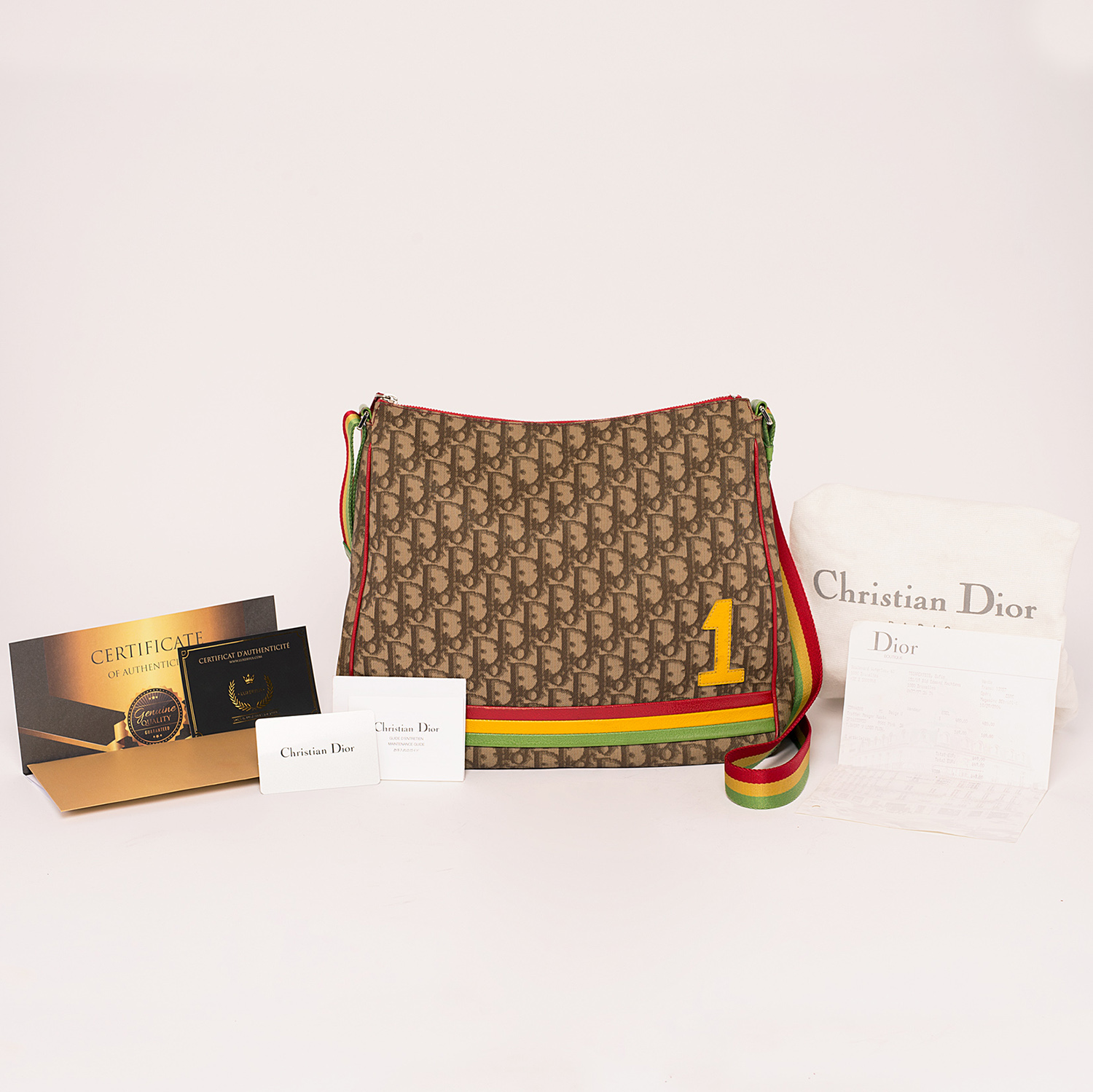 Sac de ville Christian Dior Trotter Rasta Authentique d'occasion de la grande collection John Galliano